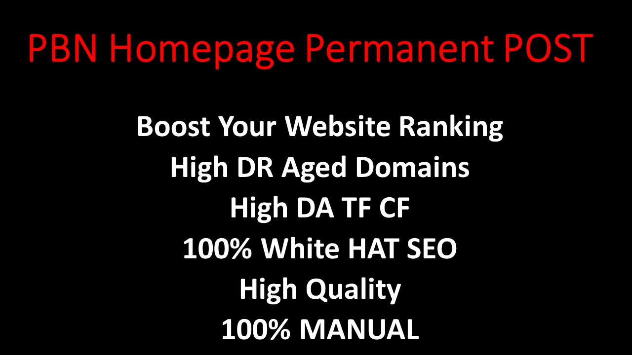 CREATE 5 Homepage Permanent PBN Post UNIQUE Domain with High DA TF CF Authority Backlinks