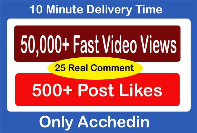 50,000 Video Views and 500 likes And 25 comments Promotion