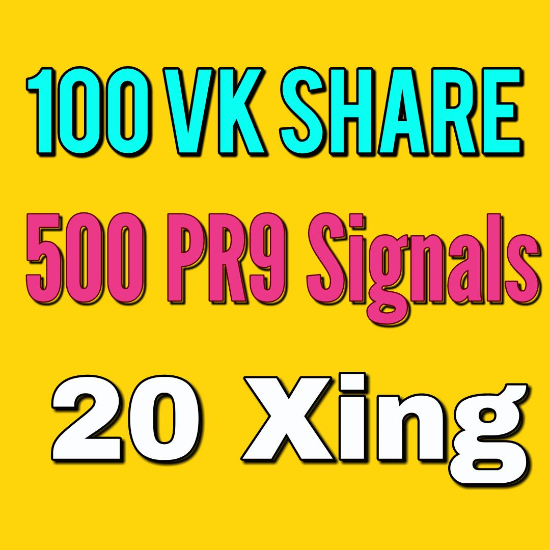100 Vk Share 500 PR9 And 20 Xing social bookmarking Real Seo Social Signals