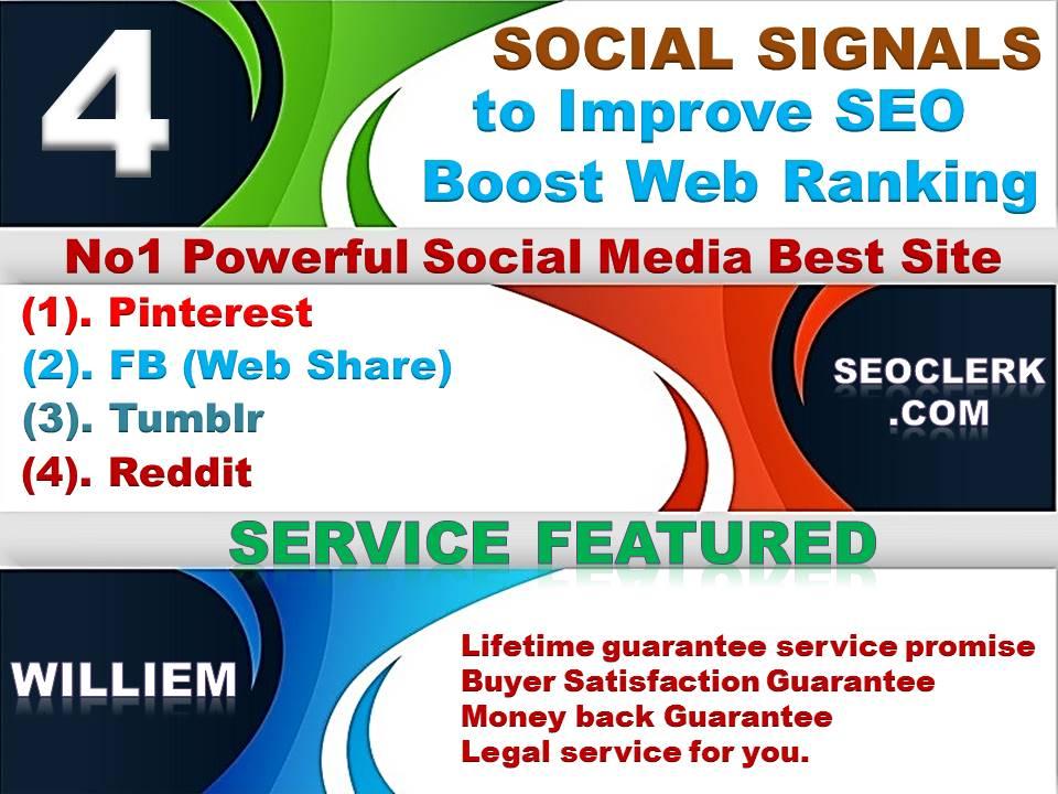Powerfull Top 4 Platform 42,156 Reddit /Tumblr / Pinterest /Mixed/Social Signals/Backlinks/Bookmarks