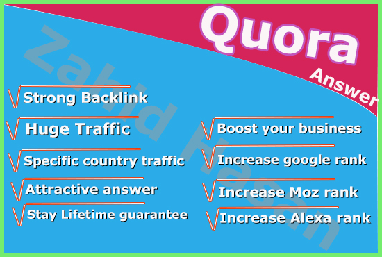 50 Quora answer for backlink,  Traffic,  Boosting business,  Increase Google - Alexa and Moz rank.