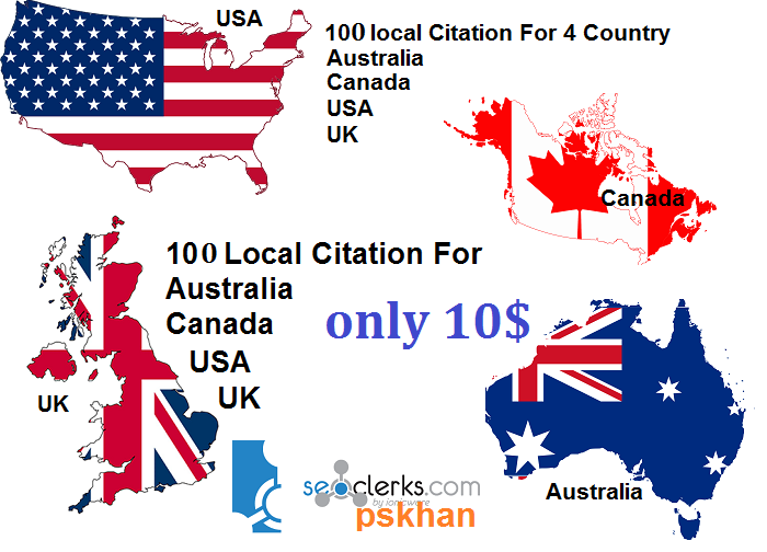 Create 100 Local Business Citations For Canada or UK or USA or Australia