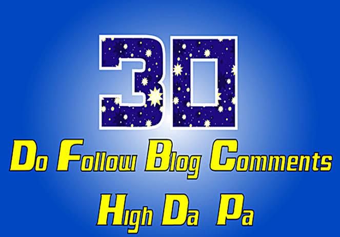 Do 30 Blog comments Backlinks From High Domain 20-30 DA websites