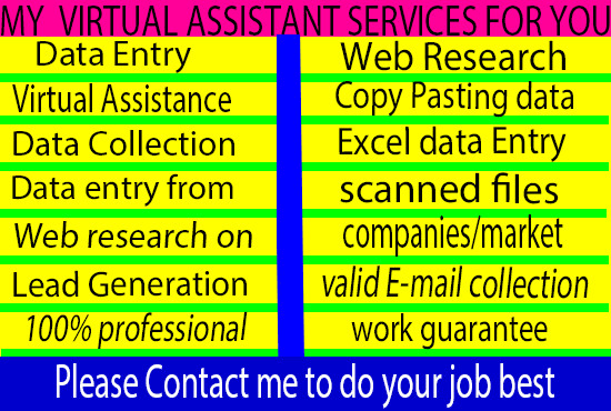 I will be your virtual assistant for data entry,  web research,  Copy and Paste work