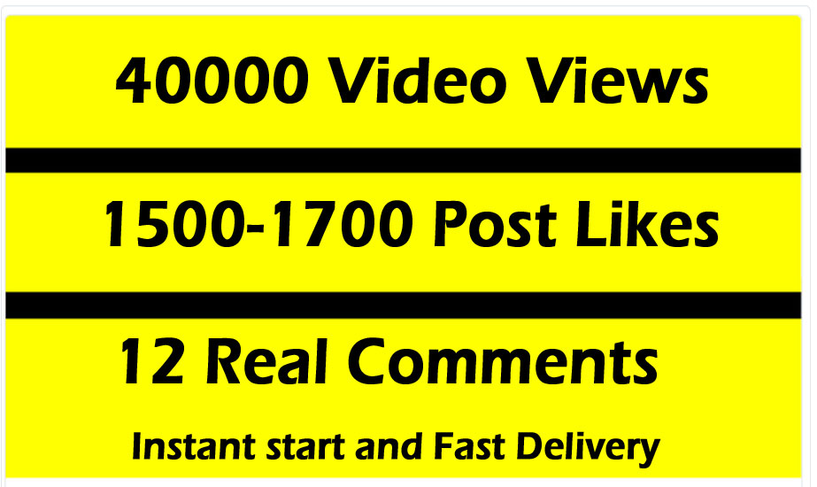 Fast 40000 Video Views Promotion Or 1500 Likes or 12 comments
