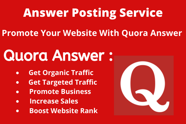 Provide High Quality 30 Quora answer With website Keyword & URL