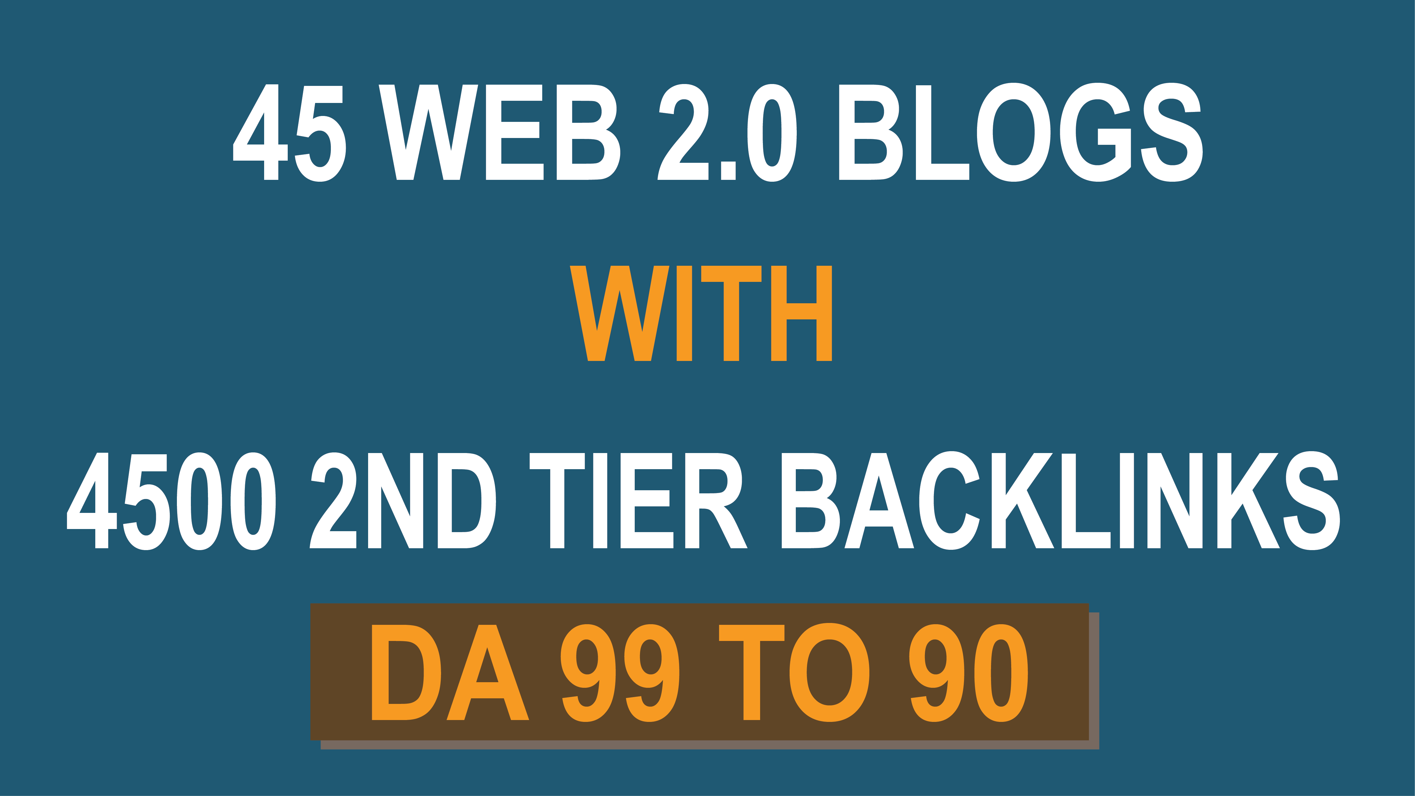 Powerful 45 Web 2.0 Blogs With 4500 2nd Tier Backlinks DA 99 to 90