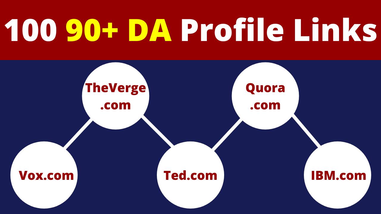 100 Profile Backlinks All DA 90 to Make Strong Base for Website or Blog