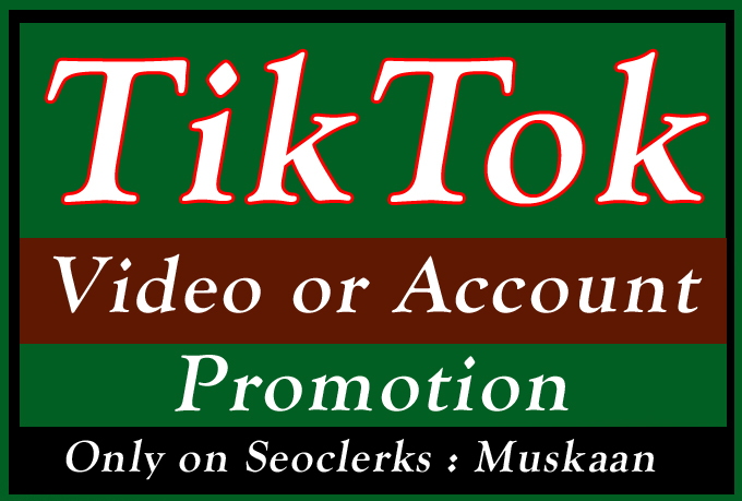 do Organic Tiktok Video or Account Promotion and Marketing
