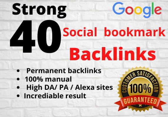 Get manually 40+ social bookmarking backlinks