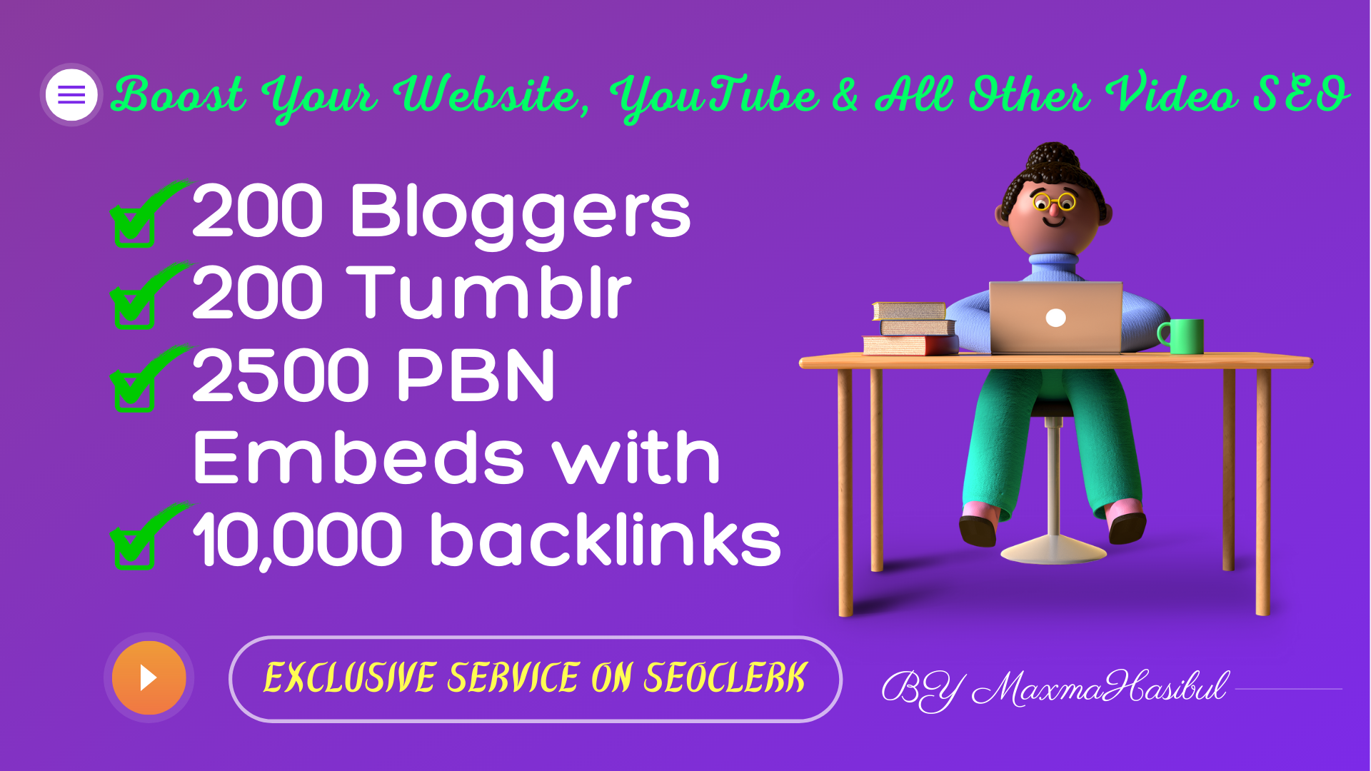 YouTube Video SEO Promotions on 200 Blogger,  200 Tumblr,  2500 PBN Blog Embeds with 10,000 Backlinks