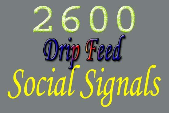 manually provide you 2600 drip feed SEO social signals
