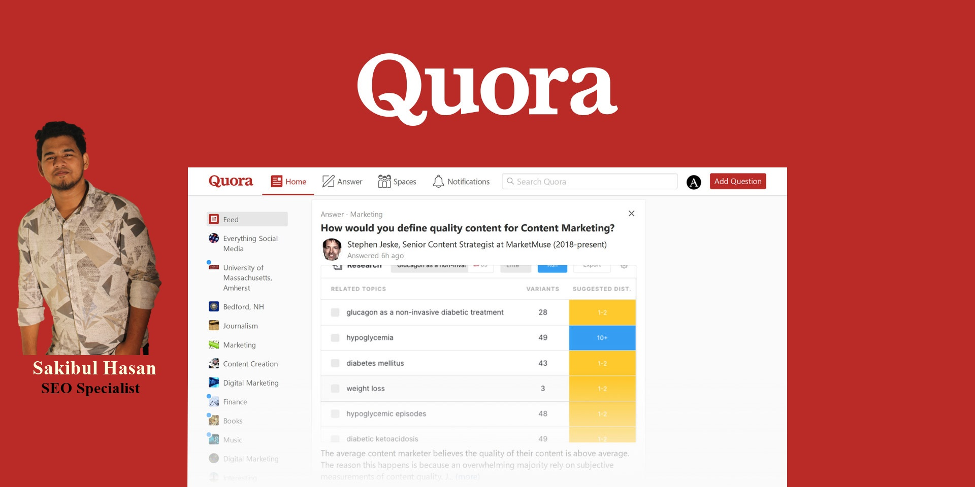 I will write 5 Quora Answer which is ranked on Quora 1st place and generate huge traffic daily