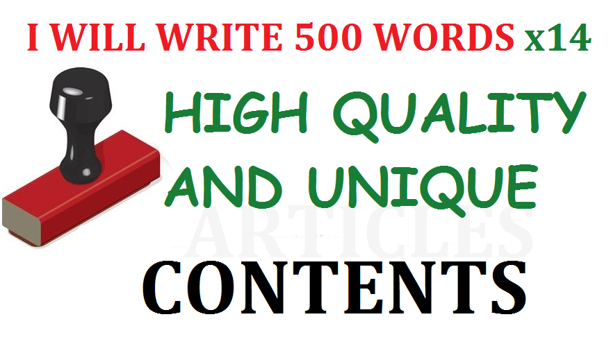 14 x 500+ Words Unique Articles/Contents for your Site or Blog. SEO Friendly Pro Writer
