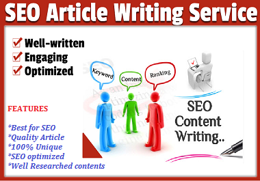 I'll write 1000 WORDS SEO friendly contents or articles for your website/blog. Pro writer/writing