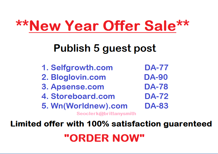 Publish 5 contents on 5 sites Which are DA- 70+ (Limited Offer)