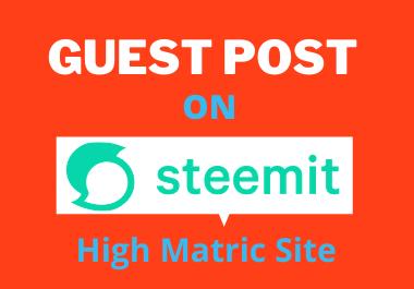 Guest Post on Steemit DA 90 High Matric Backlink