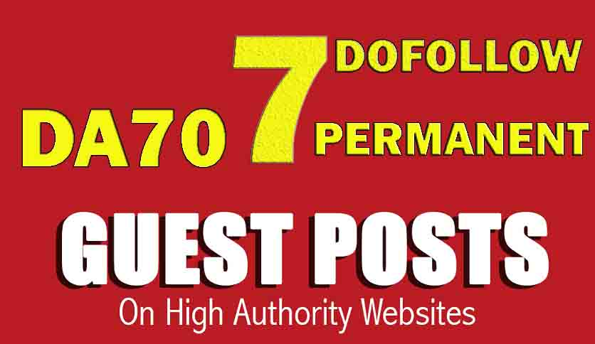 Publish 7 Guest post service on DA70 Real Blog site