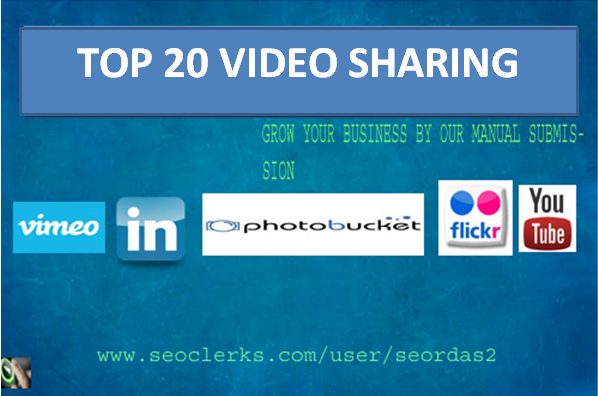 manually 20 video submission on top video sharing sites