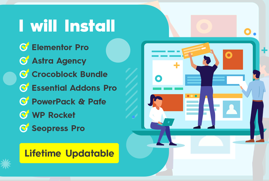 Install Elementor Pro and Astra Pro and Crocoblock Jet Bundle and WP Rocket with Official License
