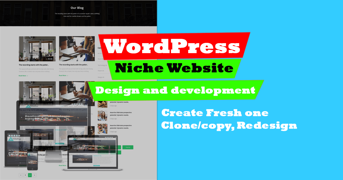 Create WordPress Niche website,  clone/copy,  redesign WordPress website