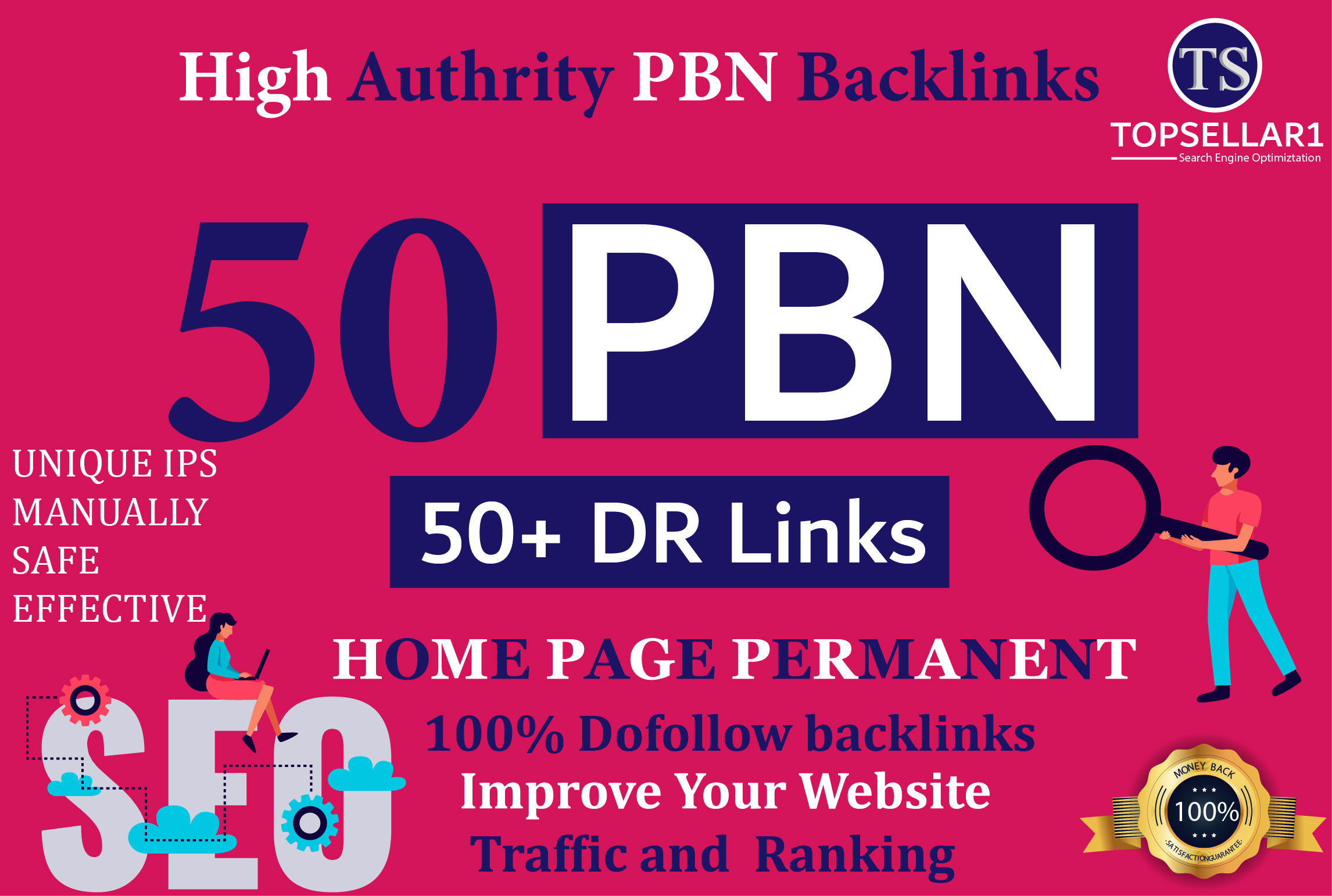 make 50 PBN Backlinks with 50 to 75 DR Dofollow Hompage Links