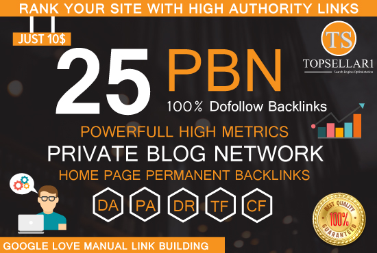 Build 25 PBN Dofollow and high da backlinks with 20+DA homepage permanent backlinks