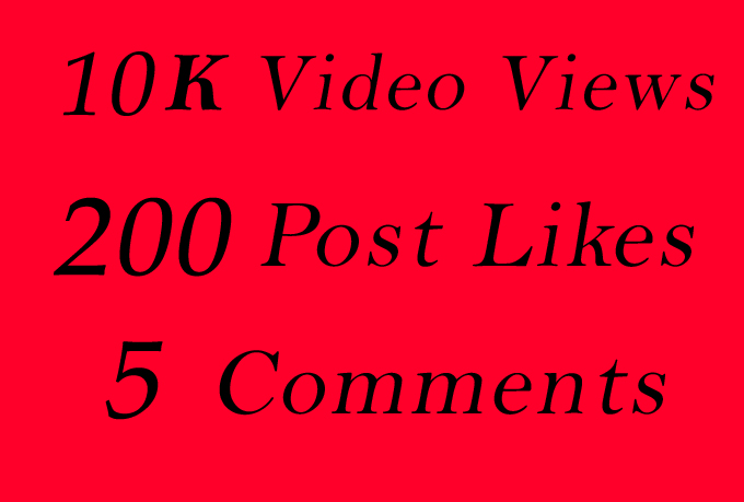 World Wide 10K Video Views Promotion Or 200 Likes Or 5 Comments for Social media Marketing