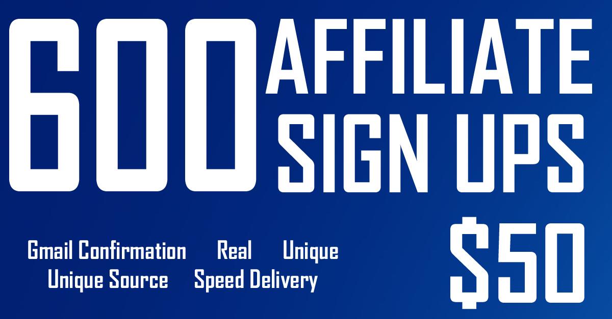 600 Unique Website/Referral Sign ups