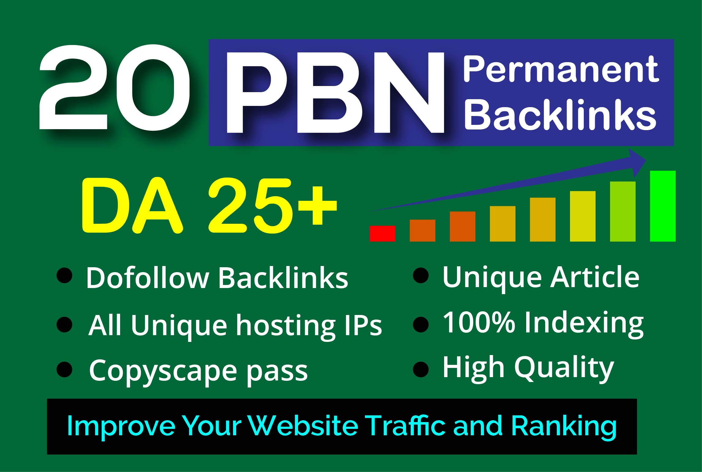 I will build 20 PBN permanent homepage DA 25 dofollow backlinks off page seo