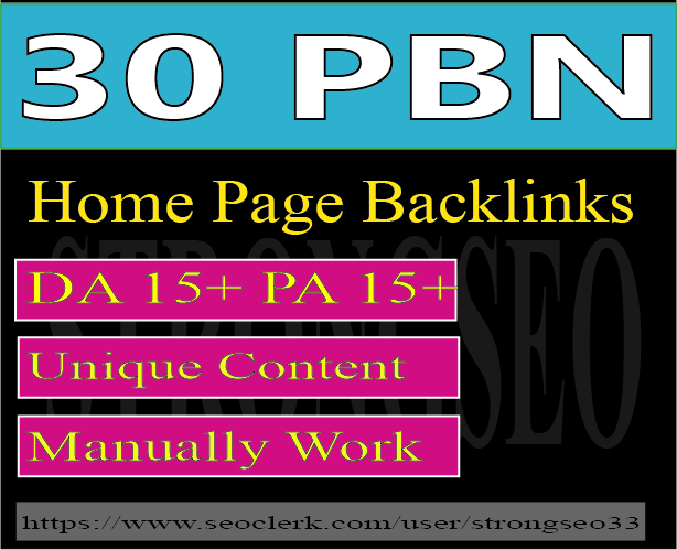 30 pbn high quality dofollow home page backlinks