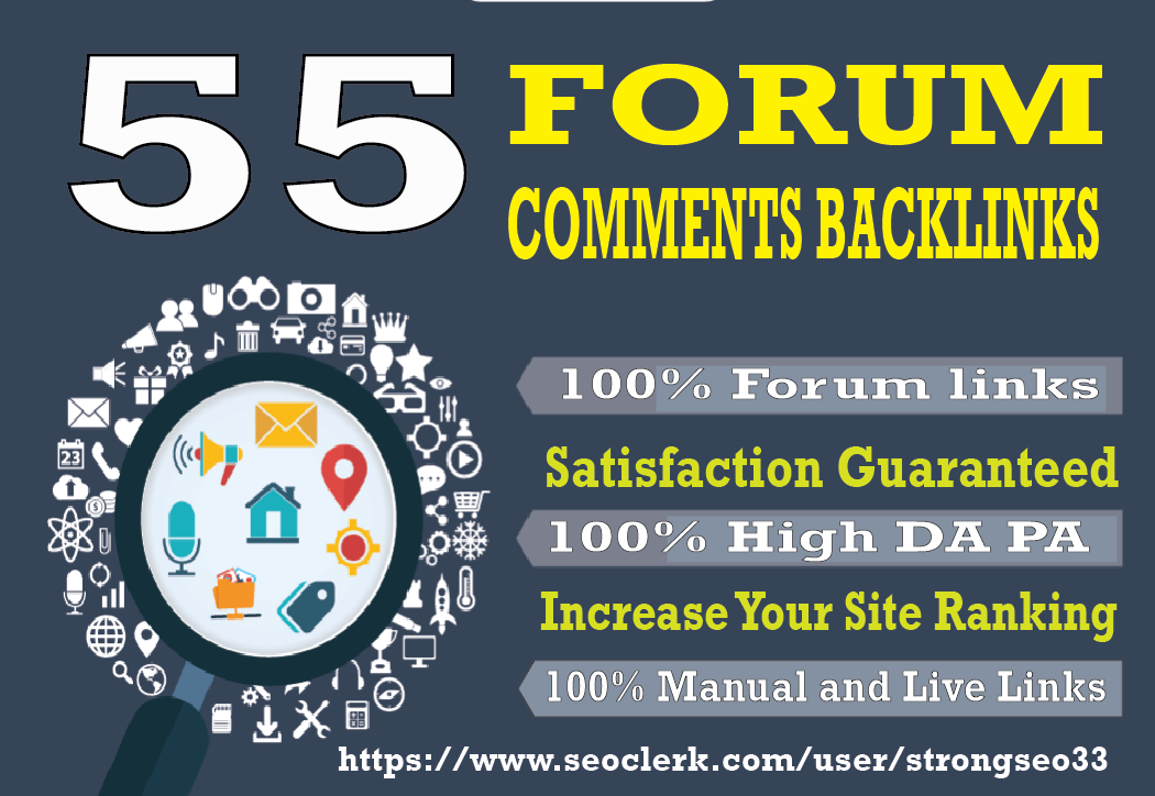I will provide 55 Forum high quality DA30+ PA25+ Dofollow Blog Comments backlinks
