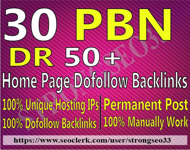 30 Home page Dofollow PBN Backlinks DR 50 Plus High Quality