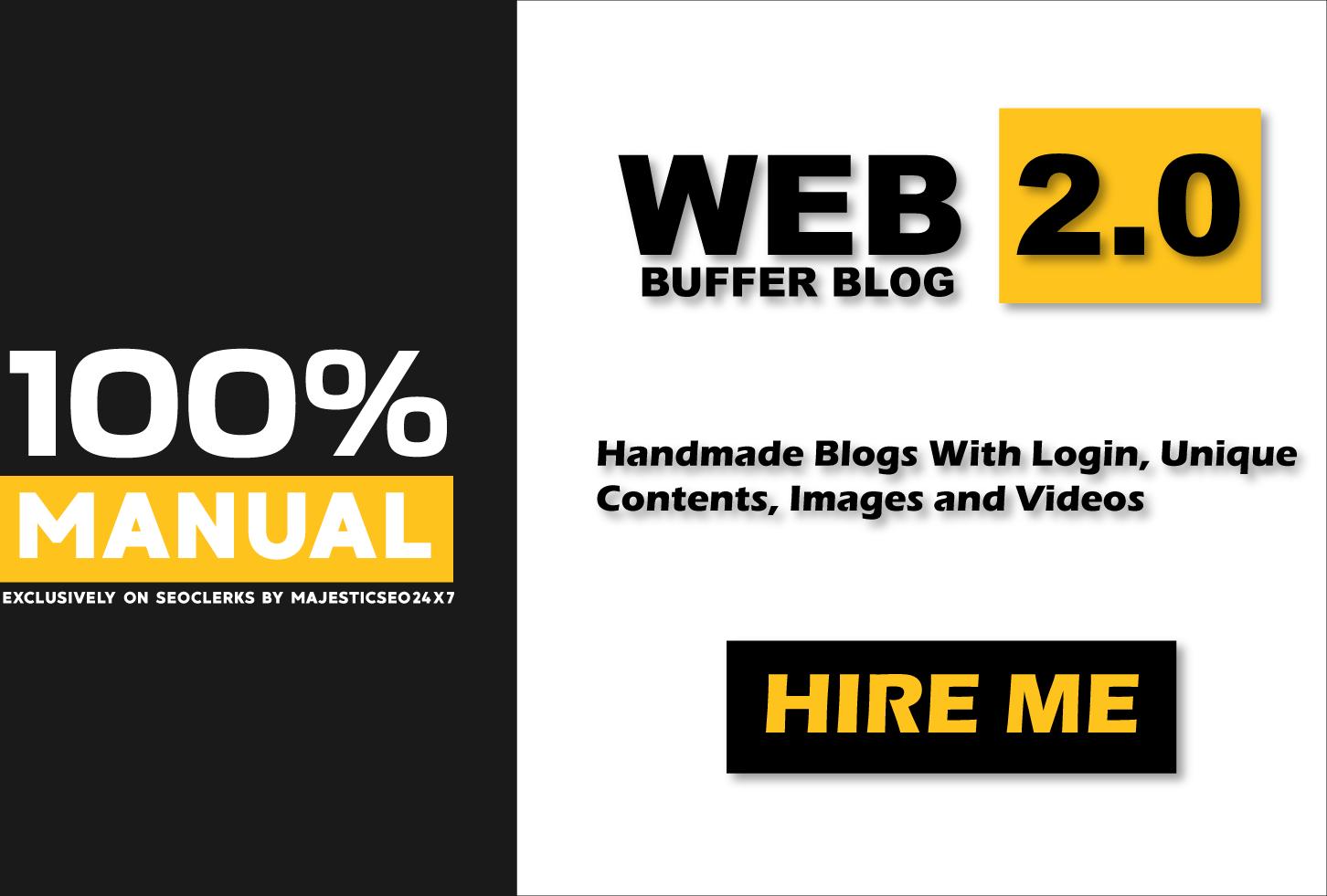 Provide 100 Verified High DA Web 2.0 Buffer Blog Properties with Login details,  Unique Content