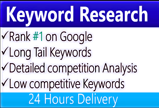 I will do 50 keyword research,  competitor analysis