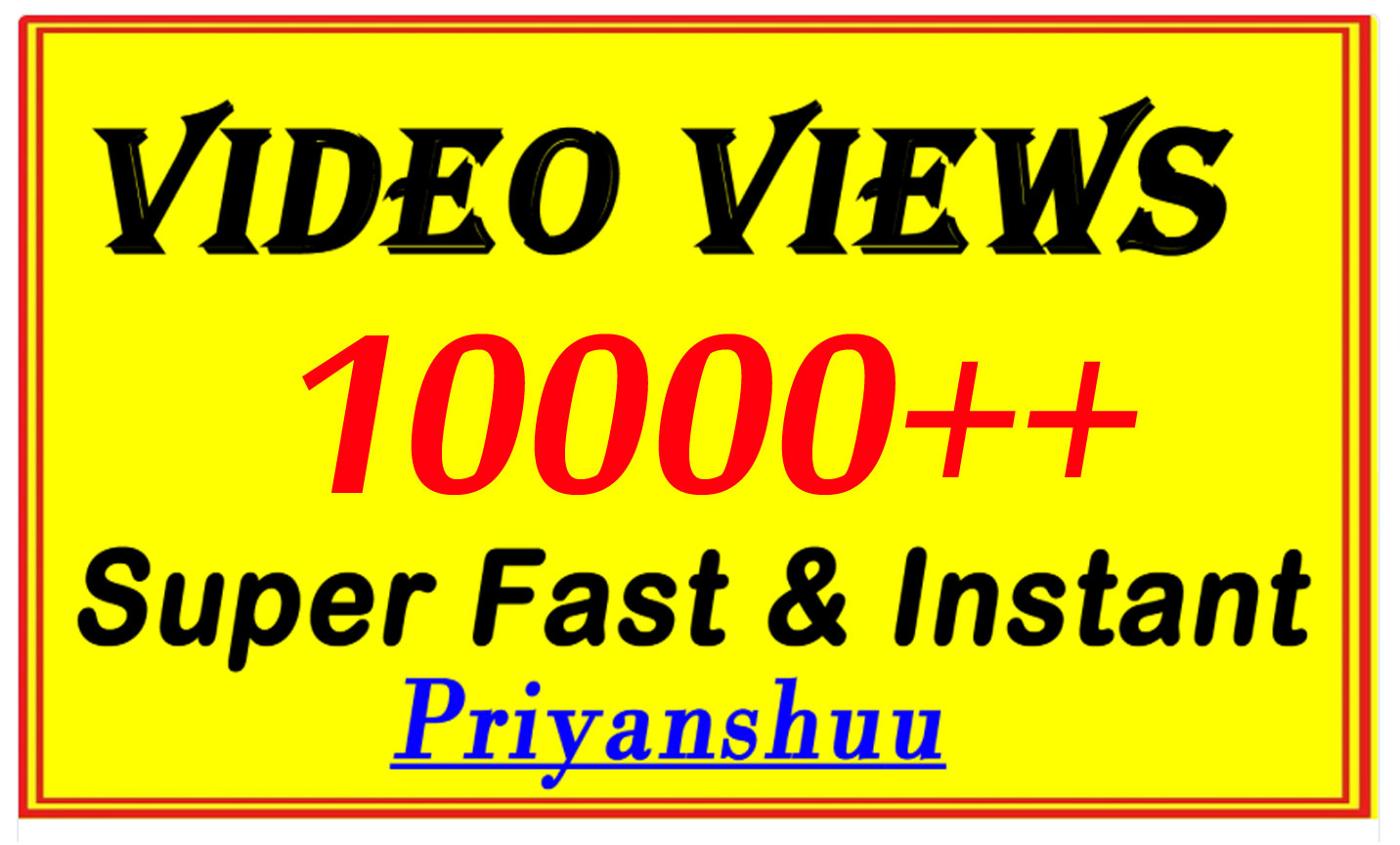 10000 Video Views or 300 Likes with Fast Delivery