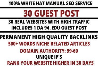 write and publish 30 high quality guest post on websites high domain authority 99-60
