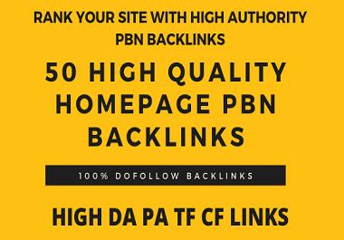 Manually Build 50 HomePage PBN Backlinks All Dofollow High Quality Backlinks
