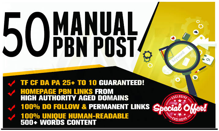 Do 50 PBN post with da 20+ High quality home page PBN