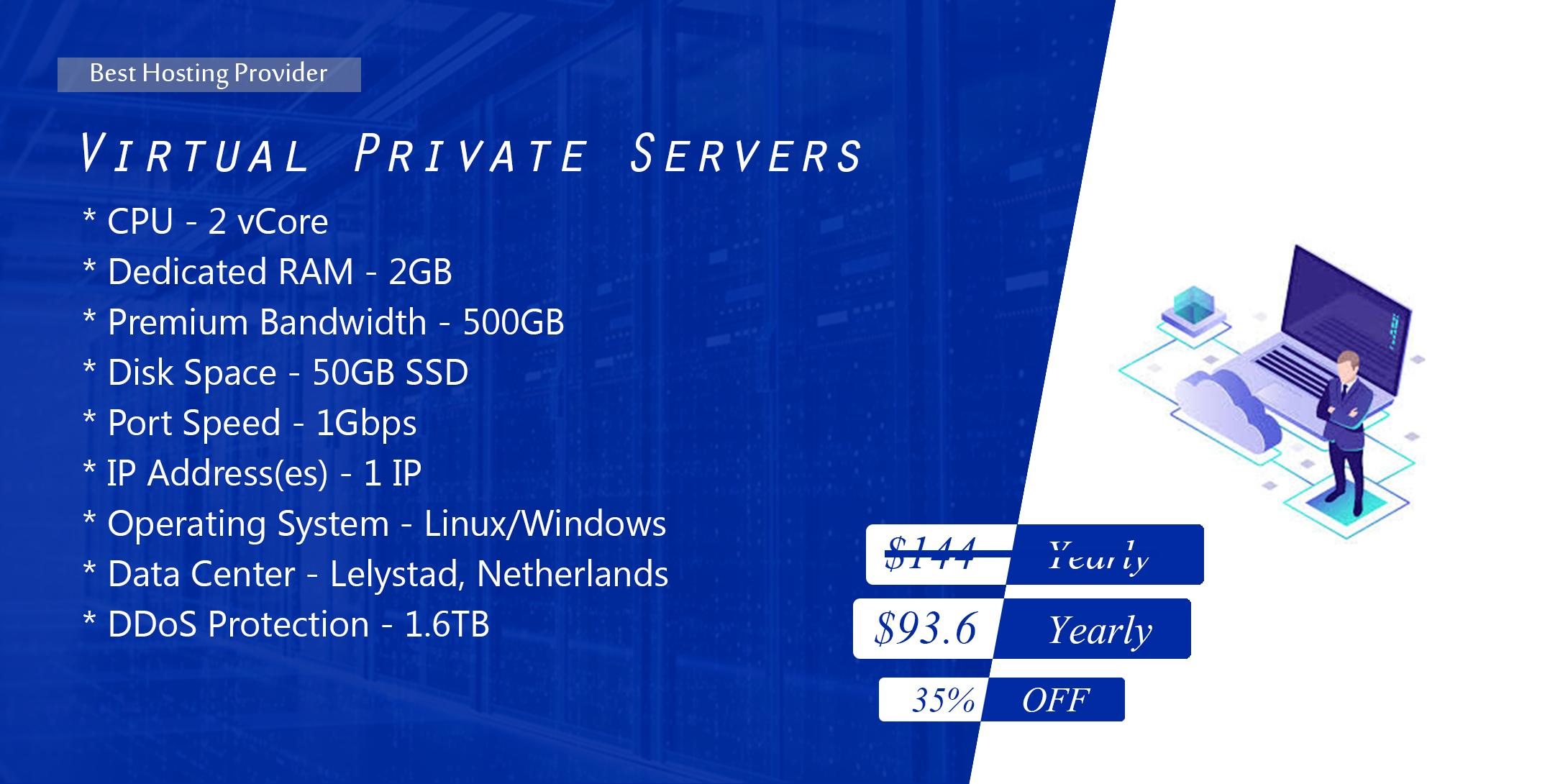 DDoS protected KVM VPS 2GB RAM 2 vCORE 50GB SSD,  Annual term