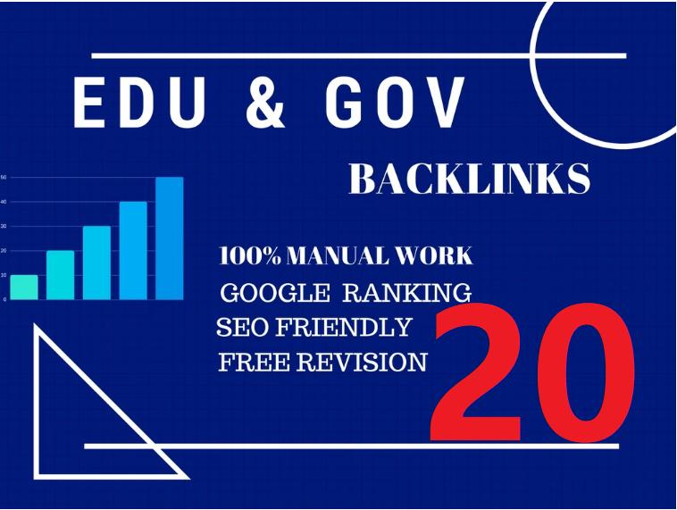 Perfect 20 Edu/Gov. Safe SEO Backlinks create Google Ranking your Website