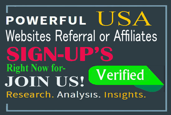 Add 20 unique real and confirmed sign ups for your websites affiliate or referral link