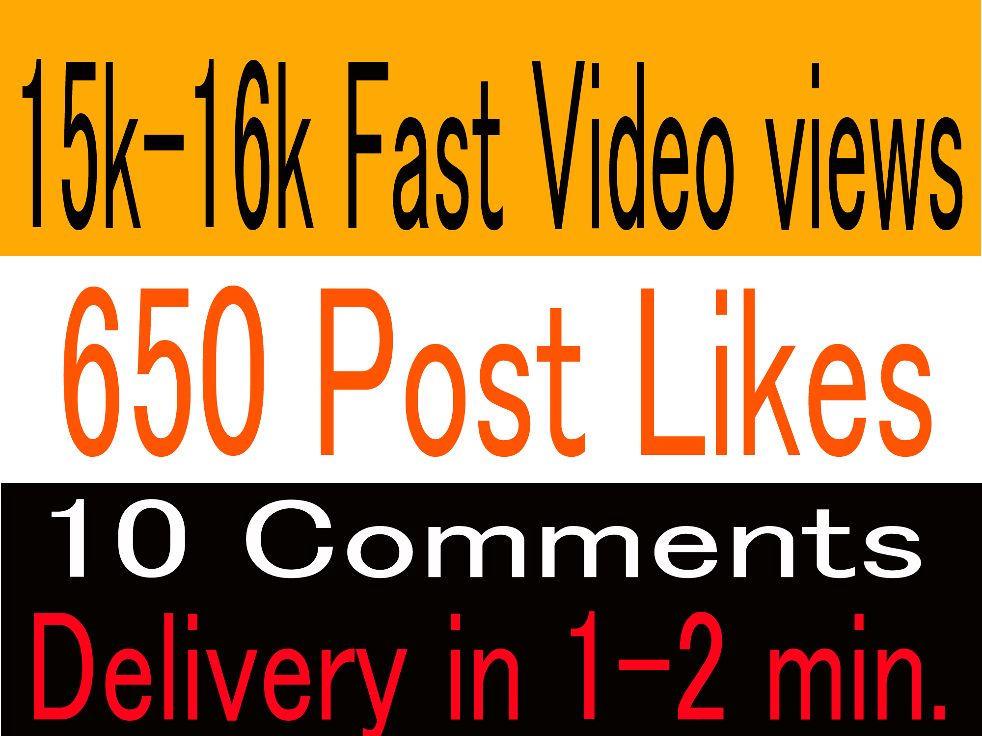 Hq,  instant 15k-16k video views or 650+ Likes or 10 comments Social media promotion