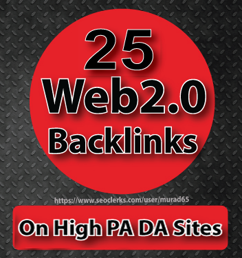 25 Web2.0 Backlinks On 100-80 PA DA Sites | Manually Service