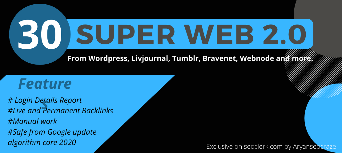 I will build Super Web 2.0 blog seo Backlink with login details report