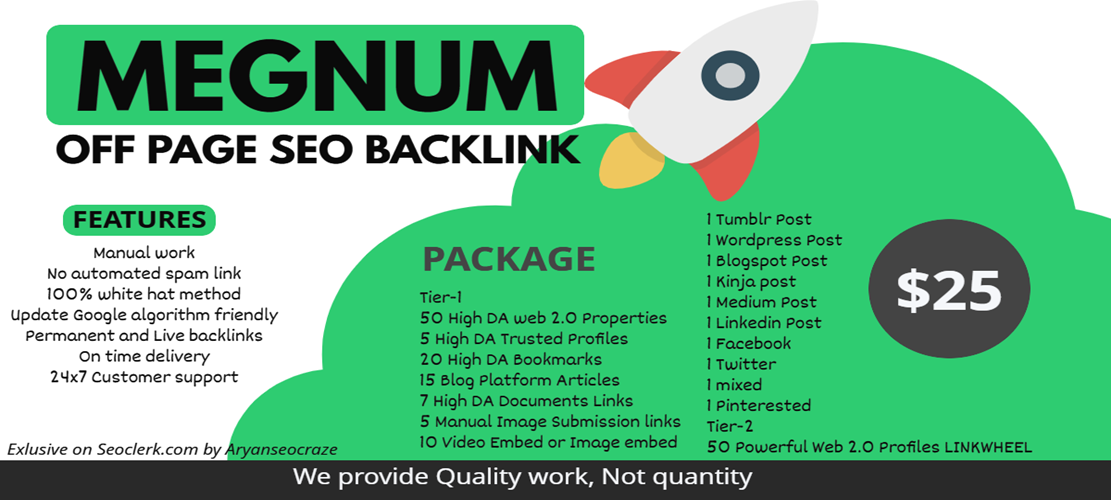 I will provide Google Rank Megnum off page seo Link building,  Backlinks