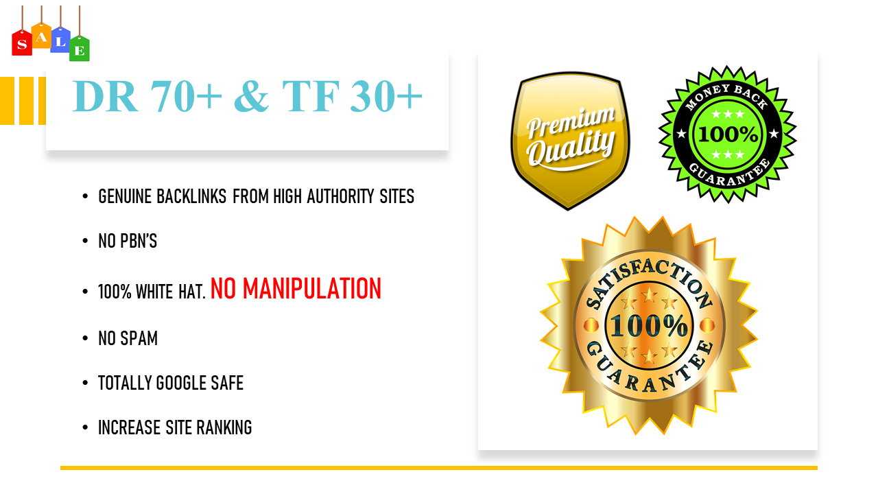 I will increase your Trust Flow to TF30+ and Website Domain Rating to DR50+ up to DR60+ or more