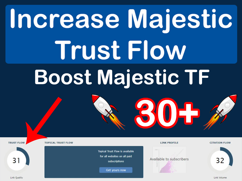 I will increase your Trust Flow to TF30+ and Website Domain Rating to DR50+ or more