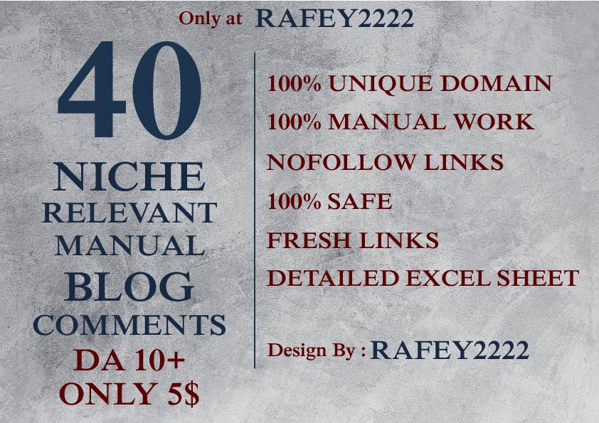 Provide 40 niche relevant DA 10+ high authorize blog comments