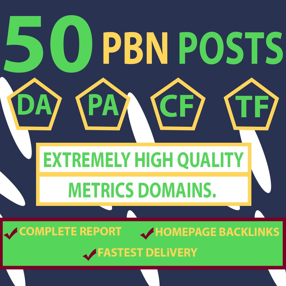 50 Homepage PBN Links DA 50+ HIGH TF Dofollow Manually